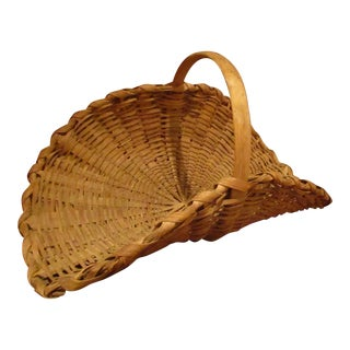 19th Century Americana Black Ash Minature Woven Splint Flower Gathering Basket For Sale