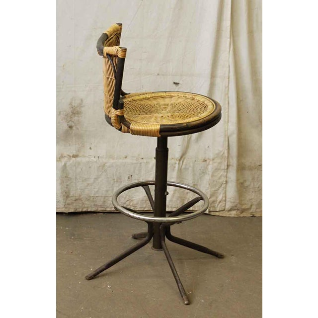 Early 20th Century Oriental Style Wicker & Metal Bar Stool For Sale - Image 5 of 7