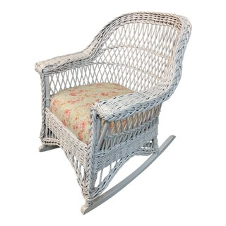 Shabby Chic Wicker Rocking Chair For Sale