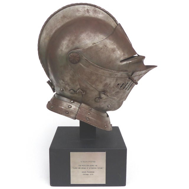 Antique Steel Jousting Presentation Helmut From Ibm Ceo Jacques Maisonrouge For Sale - Image 13 of 13