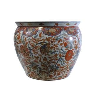 Chinese Oriental Vintage Porcelain Orange Imari Graphic Pot For Sale