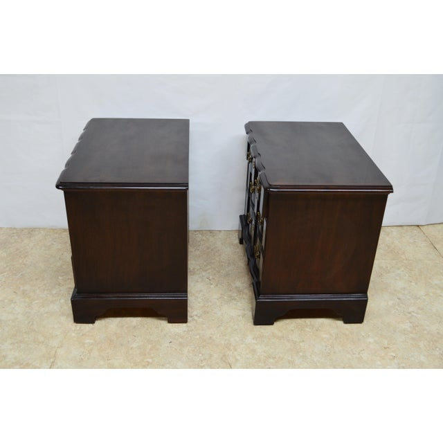 Henredon Solid Mahogany Chippendale Nightstands-a Pair For Sale - Image 11 of 13