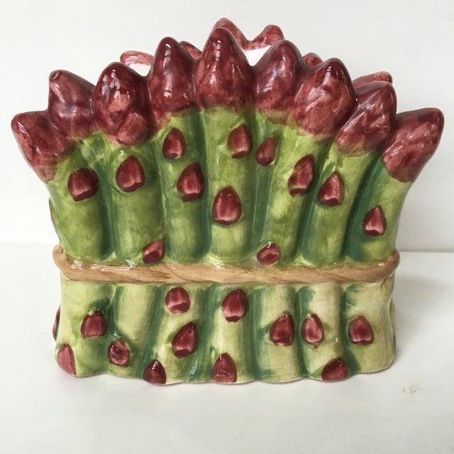 Green Majolica Ceramic Asparagus Napkin Holder For Sale - Image 8 of 8