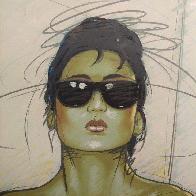 1980s Dennis Mukai - Model W/Black Sunglasses- Original 1980s Serigraph -Signed For Sale - Image 5 of 9