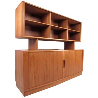 Vintage Modern h.p. Hansen Teak Sideboard With Top Bookcase Display For Sale