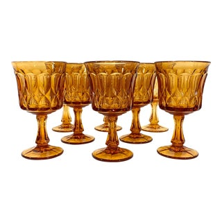1960s Amber Water Goblets - Set of 8 For Sale