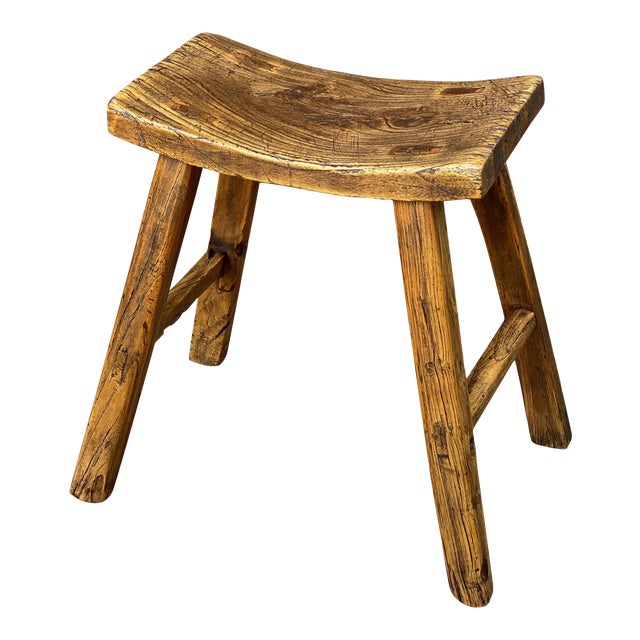 English Saddle Seat or Farm Stool of Elm For Sale