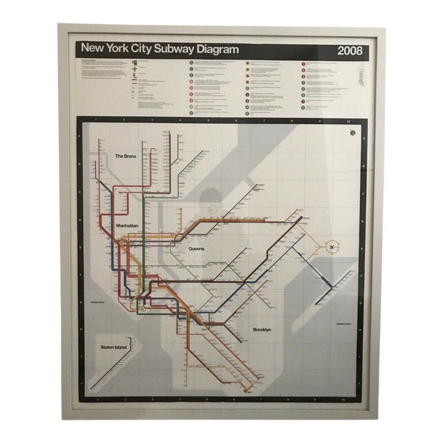 Subway Map 1970s.1970s Vintage Massimo Vignelli Nyc Subway Signed Map