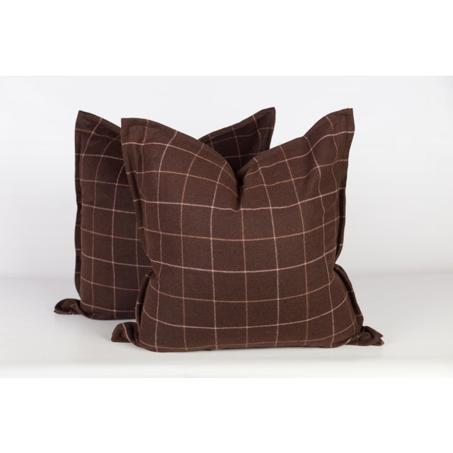 Chocolate Brown Plaid Wool Pillows - A Pair - Image 4 of 4