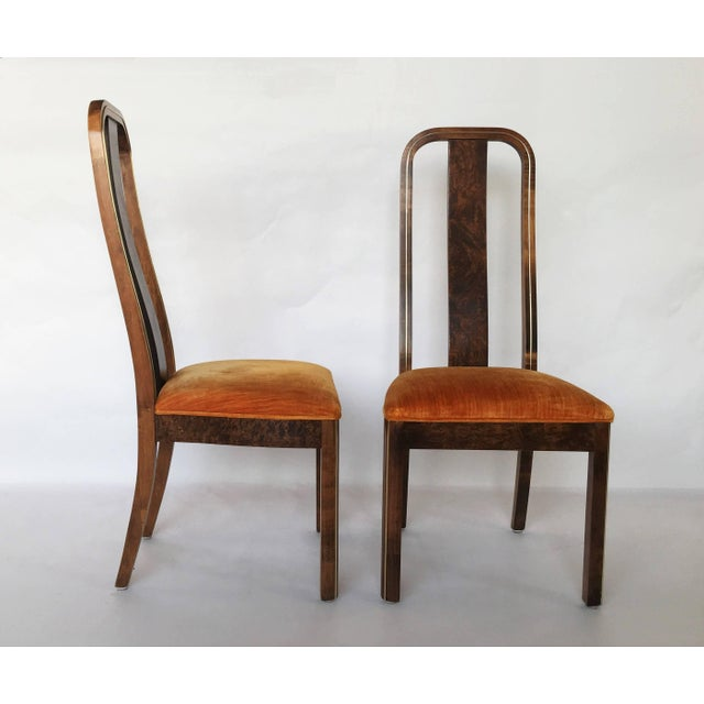 Set of Six Burl Wood and Brass Dining Chairs by Century Furniture For Sale In Dallas - Image 6 of 7