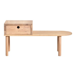 Modern Blonde Wood Bench With Drawer For Sale