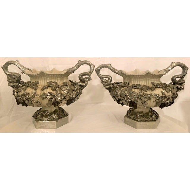 Pair Antique Villeroy & Boch Silver Mounted Porcelain Urns, Circa 1880. For Sale - Image 4 of 4