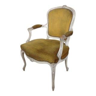 Louis Xv Style Armchair in Gold Velvet For Sale