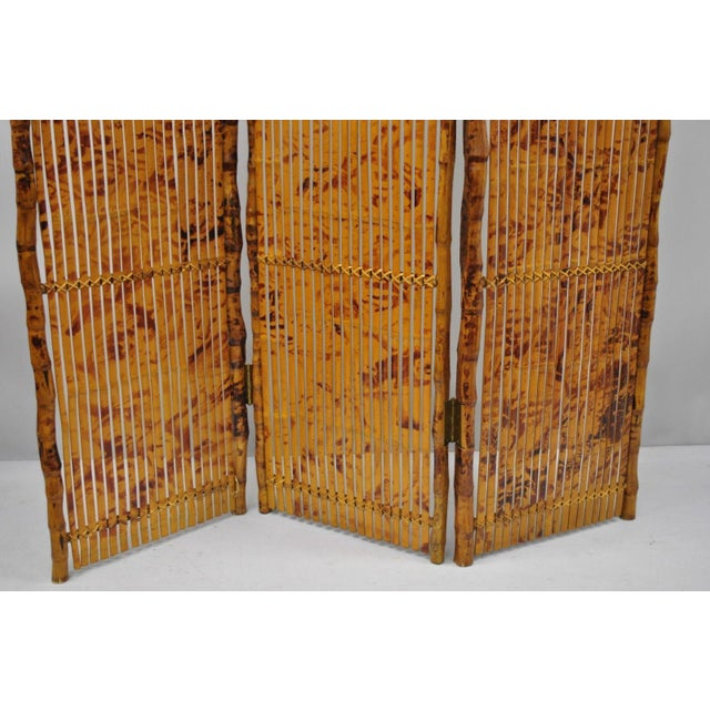 Boho Chic Late 20th Century Bamboo Wood Panel Room Divider For Sale - Image 3 of 10