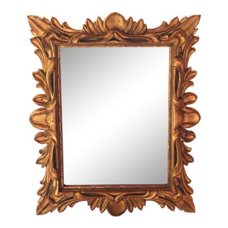 Monumental Hollywood Regency Baroque Gold Leaf Mirror For Sale