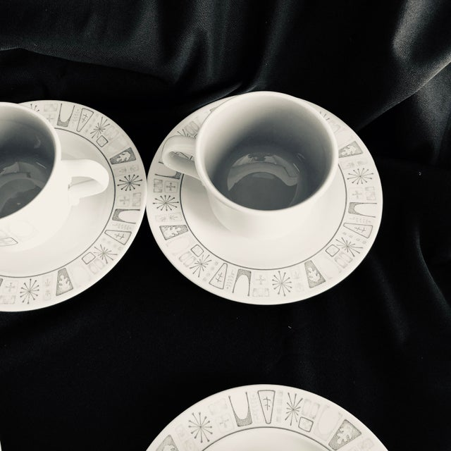 """Mid-Century Modern Midcentury Starburst Design """"Cathay """" Taylor Smith & Taylor Teacups and Saucers S/6 For Sale - Image 3 of 7"""