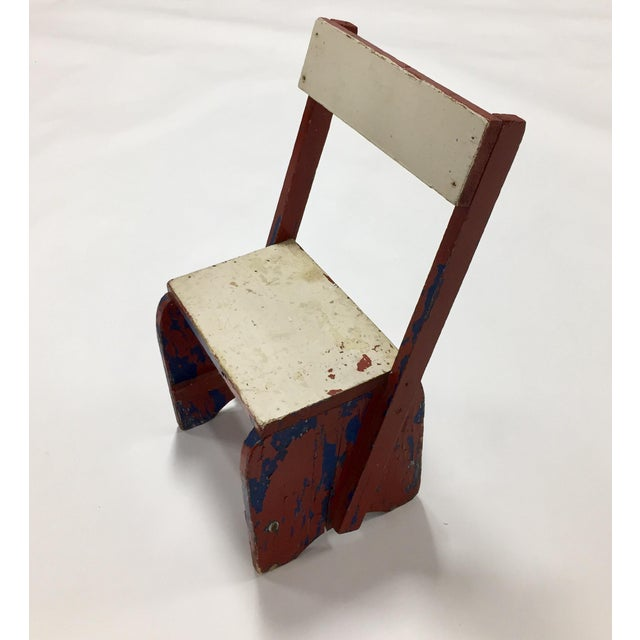 White 1950s Vintage Rustic Child's Chair For Sale - Image 8 of 8