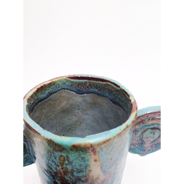 2010s Organic Sculptural Turquoise Pottery Vases - a Pair For Sale - Image 5 of 7