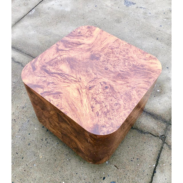 Milo Baughman burl wood end table or coffee table.