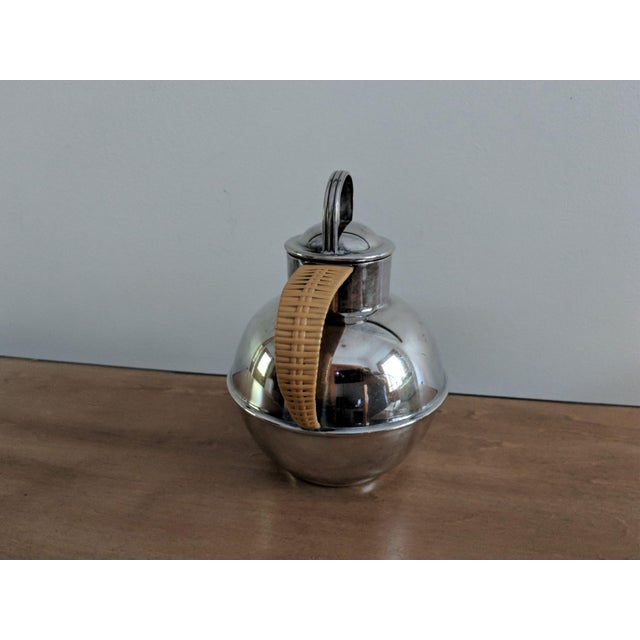 International Silver 1940s Art Deco International Silver Co. Guernsey Milk Jug With Rattan Handle For Sale - Image 4 of 9