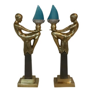 20th Century Art Deco Figurative Brass Candlesticks - a Pair