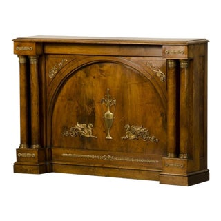 Antique French Empire Period Walnut Console With Gilded Bronze Mounts circa 1810 For Sale