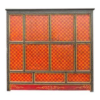 Vintage Checkered Tibetan Monk Cabinet For Sale