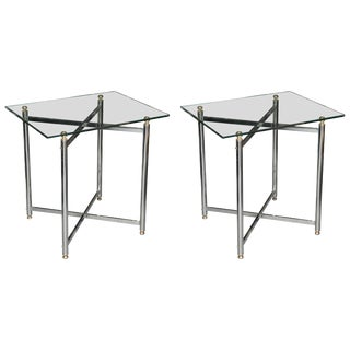 Pair of Mid-Century Brass and Chrome End Tables For Sale