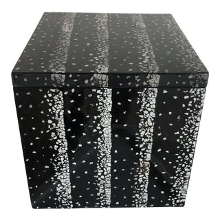 Parellel Black & White Speckle Mosaic Box For Sale