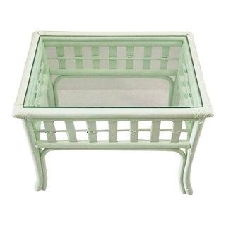 1960s Boho Chic Laduree Green Rattan Side Table For Sale