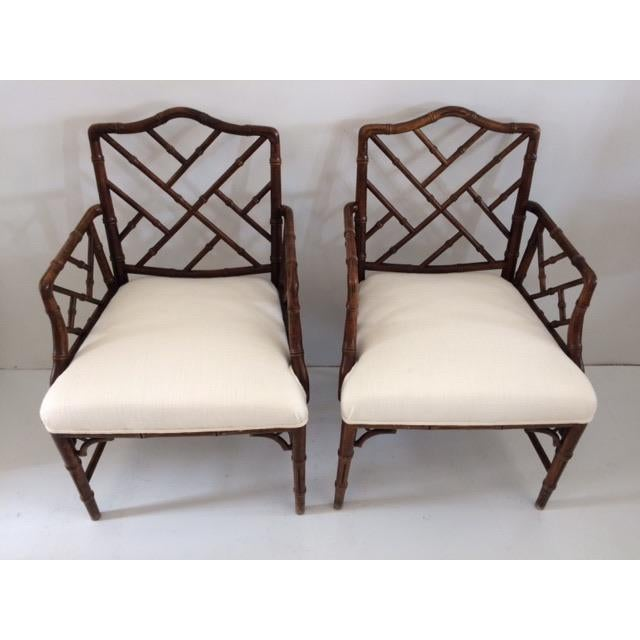 Boho Chic 1980s Vintage Faux Bamboo Arm Chairs- A Pair For Sale - Image 3 of 13