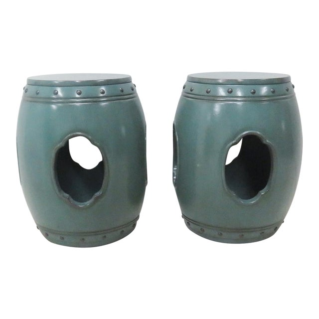 Asian Green Lacquered Garden Stools- A Pair - Image 1 of 8