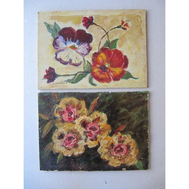 Vivid Vintage Flower Paintings- A Pair - Image 2 of 8