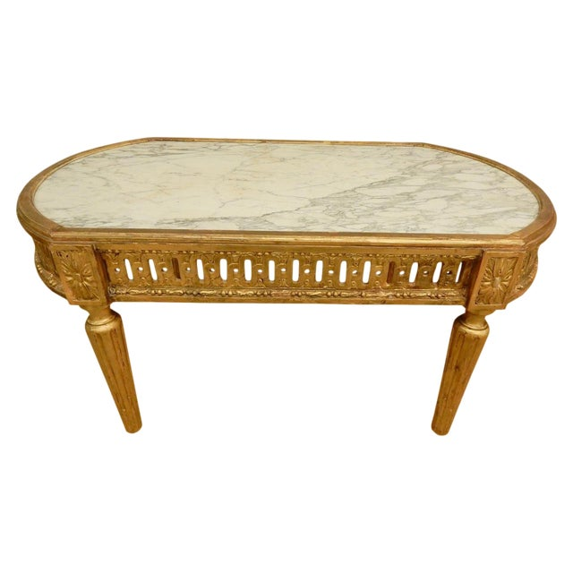 18th C. Louis XVI Marble Top Coffee Table For Sale