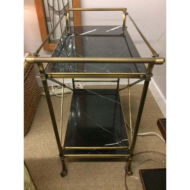 Mid Century Modern Brass & Marble Bar Cart - Image 2 of 9