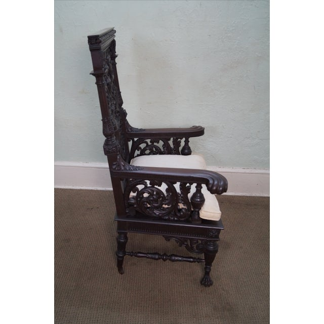 Antique 19th Century Carved Oak Throne Chair - Image 10 of 10