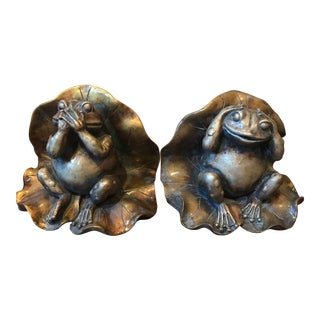 Frogs on Lily Pad Vintage Bookends - a Pair For Sale