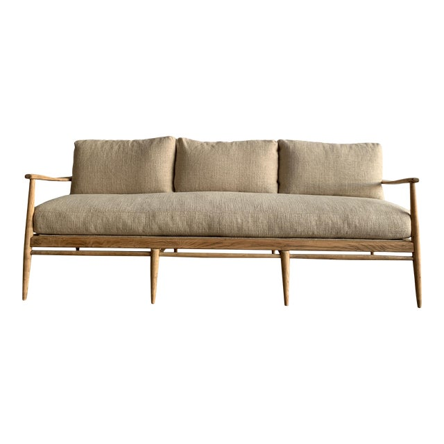 MCM Danish Wood and Woven Cane Couch For Sale