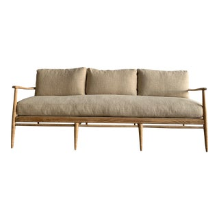 Mid-Century Modern Danish Wood and Woven Cane Couch For Sale