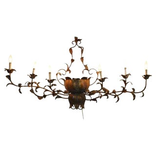 1940s Vintage Italian Brass Gilded Lotus Wall Sconce For Sale