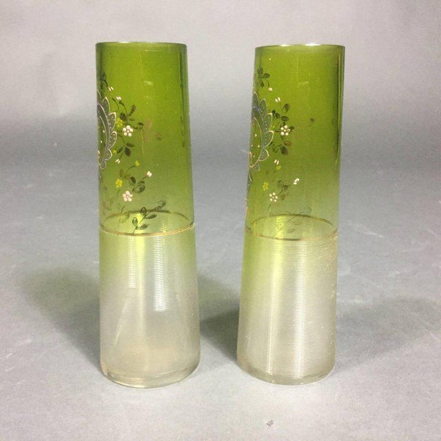 1920s Pair of Bohemian Art Deco Moser Attributed Decorated Bud Vases, 1925 For Sale - Image 5 of 9