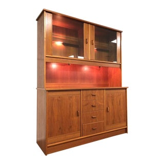 Teak Danish Modern China Cabinet with Lighted Display