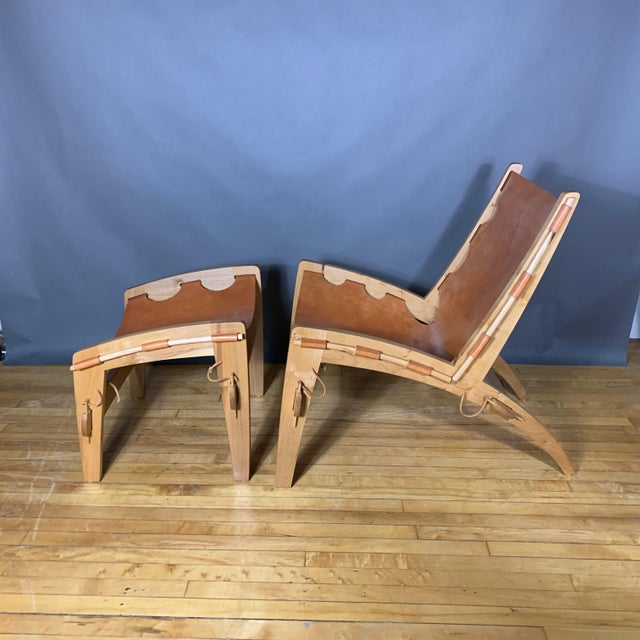 Mid-Century Modern Dan Burstyn Quilpo Leather Sling Chair & Ottoman, Argentina For Sale - Image 3 of 13