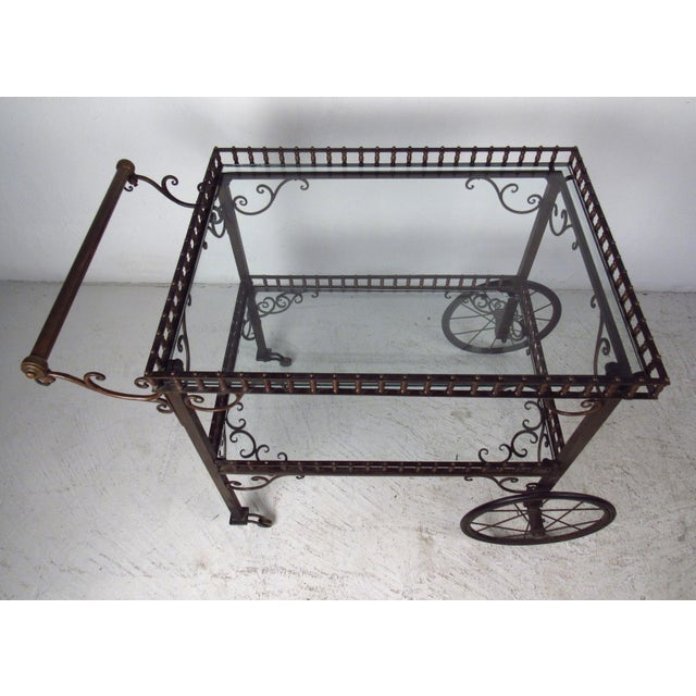 Mid-Century Modern Ornate Vintage Bar or Tea Cart For Sale - Image 3 of 11