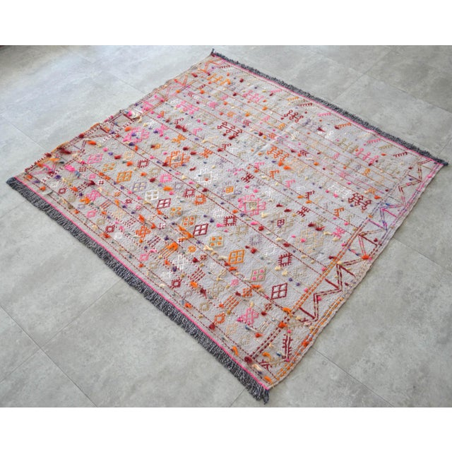 """Antique Anatolian Braided Rug Hand Woven Cotton Small Rug Sofreh - 3'7"""" X 3'10"""" For Sale - Image 4 of 8"""