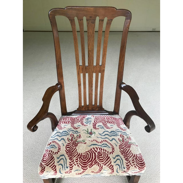 Early 20th Century Vintage Walnut Arm Chair With Clarence House Tibet Tiger Upholstery For Sale - Image 5 of 7