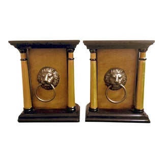 Empire Style Architectural Themed Wooden Bookends With Metal Lions Head Hardware - a Pair For Sale