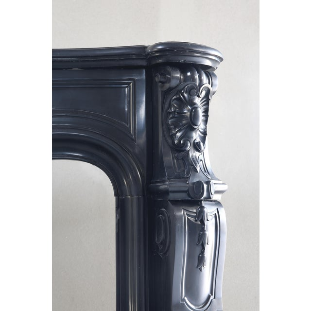 Early 19th Century Antique Marble Fireplace, Noir De Mazy, Louis Xv, 19th Century For Sale - Image 5 of 8