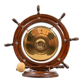 Antique English Nautical Oak & Brass Table Gong For Sale