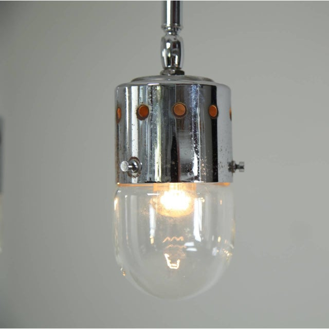Set of four chrome minimalist Italian ceiling lights, 1950s For Sale - Image 4 of 4